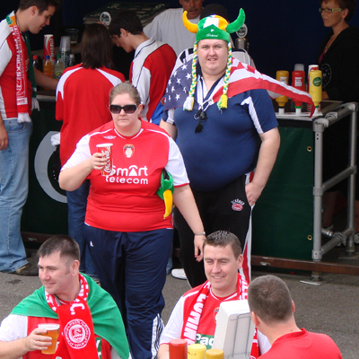 FANS PREPARE FOR MATCH